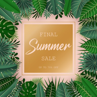 Green and gold tropical leaves on pink background design for sale banner