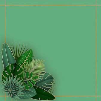 Green and gold tropical leaves on pink background