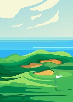 グリーンゴルフコース。垂直方向の屋外スポーツの場所。