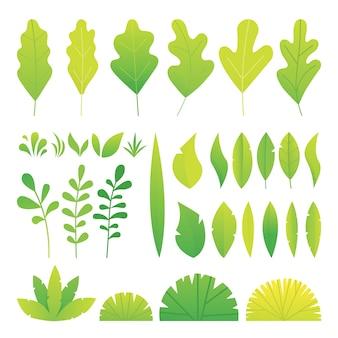 Green gradation color leaves wit noise gradient set.    illustration.