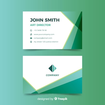 Green gradient abstract business card template