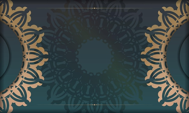 Green gradient background with abstract gold pattern and place under your text