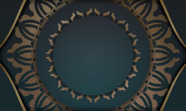 ギリシャの金の装飾品とあなたのテキストの下に配置と緑のグラデーションの背景