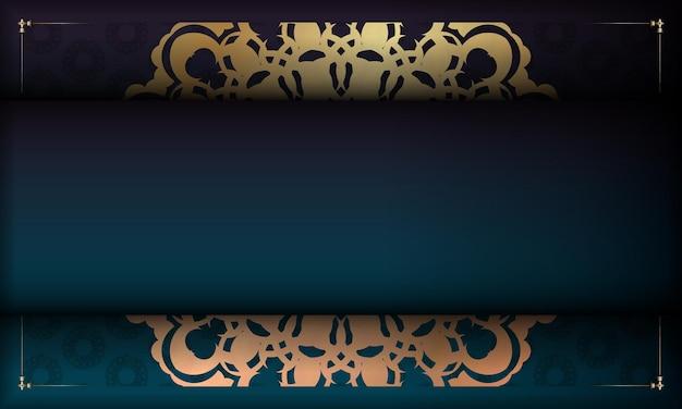 あなたのロゴの下にデザインのためのギリシャの金のパターンと緑のグラデーションの背景