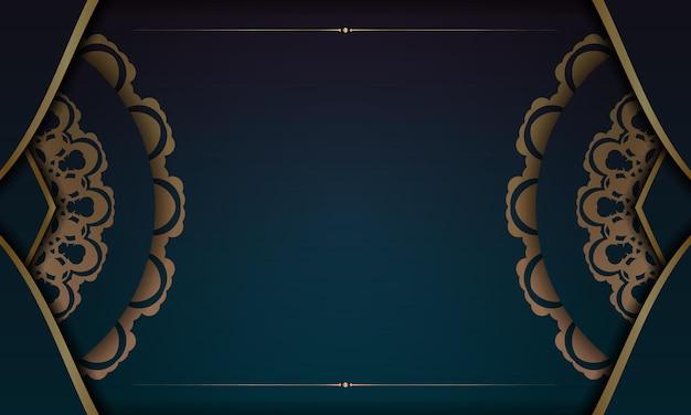 로고 또는 텍스트를 위한 인도 골드 패턴 및 장소가 있는 녹색 그라데이션 배경