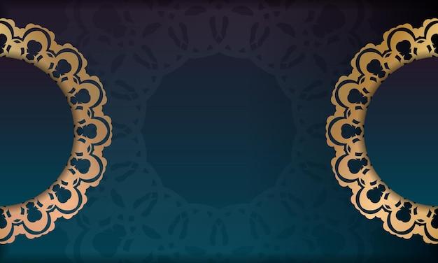 로고 아래 디자인을 위한 인도 골드 패턴이 있는 녹색 그라데이션 배경