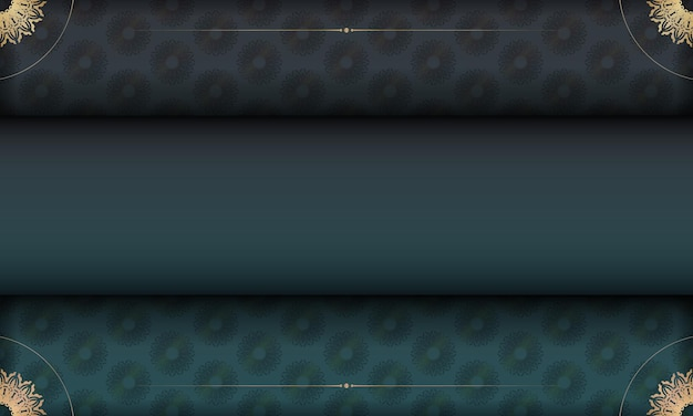 Green gradient background with indian gold pattern and place under your text