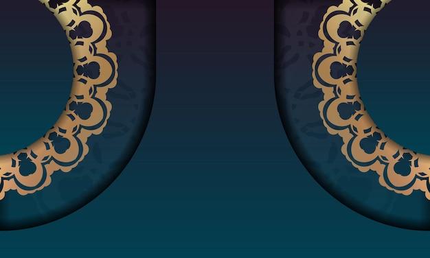 あなたのロゴの下にデザインのための豪華な金色の飾りと緑のグラデーションの背景