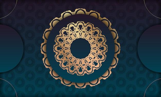 고급스러운 황금 패턴과 로고 또는 텍스트 위치가 있는 녹색 그라데이션 배경