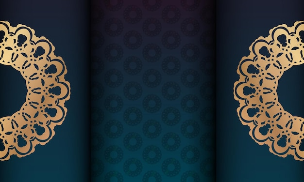 Green gradient background with mandala gold ornament and place under your logo