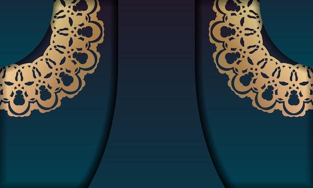로고 아래 디자인을 위한 빈티지 골드 장식이 있는 녹색 그라데이션 배경