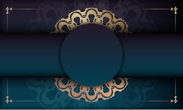 あなたのロゴの下のデザインのヴィンテージゴールドパターンと緑のグラデーションの背景