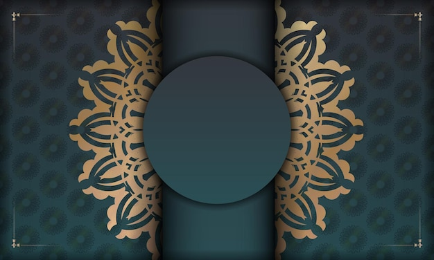Green gradient banner with abstract gold ornament for design under your logo or text