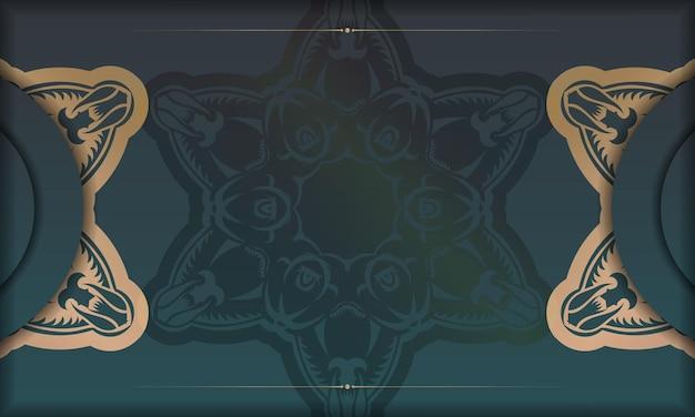 ロゴまたはテキストの下のデザインのための抽象的な金の飾りと緑のグラデーションバナー