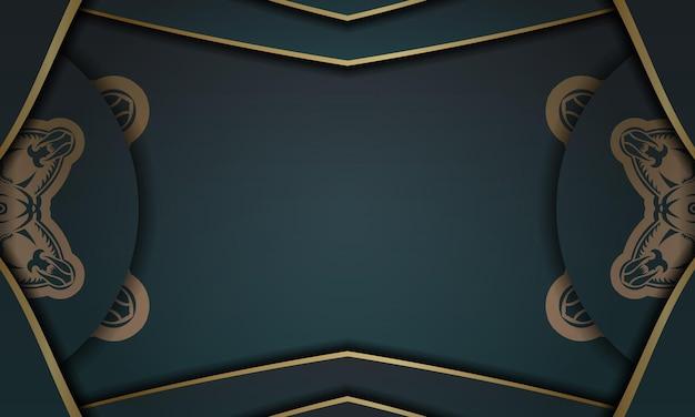 추상 골드 패턴이 있는 녹색 그라데이션 배너 및 로고 또는 텍스트 아래에 배치