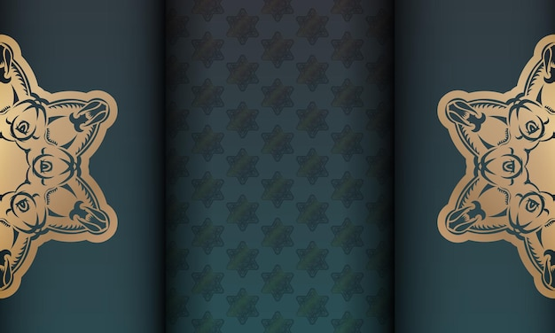 골드 만다라 장식 및 로고 또는 텍스트 위치가 있는 녹색 그라데이션 배너