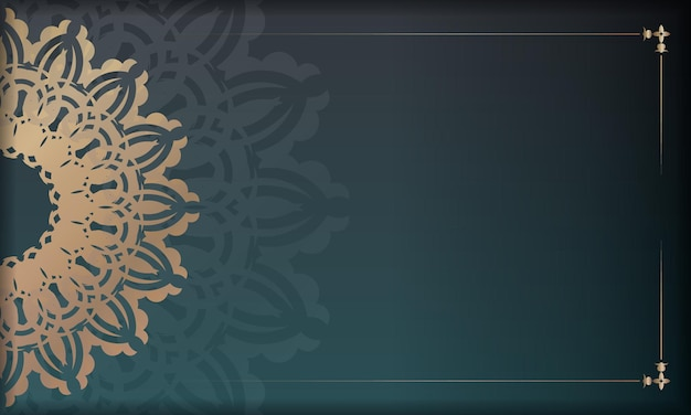 Green gradient banner with greek gold pattern for design under your logo or text