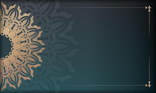 あなたのロゴやテキストの下にデザインのためのギリシャの金のパターンと緑のグラデーションバナー