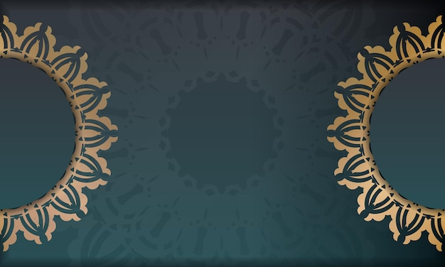 Green gradient banner with indian gold ornament for design under your logo or text