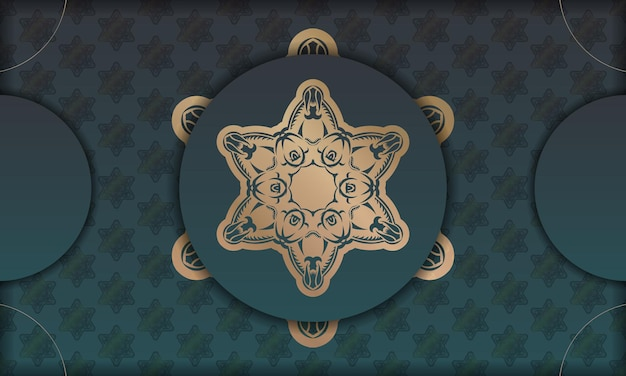 로고 또는 텍스트를 위한 고급스러운 금색 패턴과 공간이 있는 녹색 그라데이션 배너