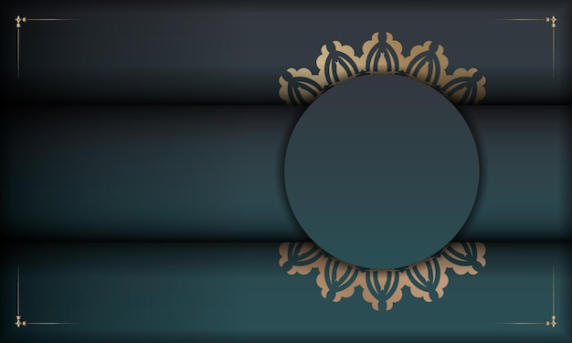 Green gradient banner with luxury gold ornament for design under your logo or text