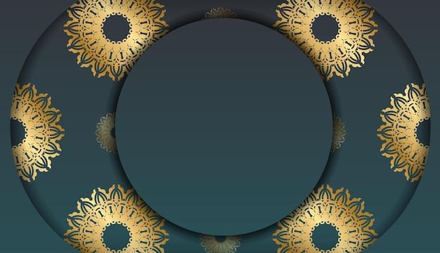 로고 또는 텍스트 아래 디자인을 위한 고급 금색 패턴이 있는 녹색 그라데이션 배너