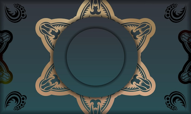 Green gradient banner with mandala gold ornament for design under logo or text