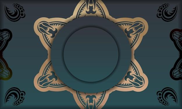 ロゴまたはテキストの下のデザインの曼荼羅ゴールド飾りと緑のグラデーションバナー