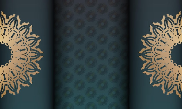 Green gradient banner with mandala gold pattern for design under your logo or text