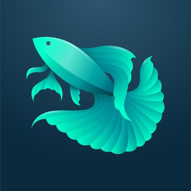 緑のグラデーションベタの魚モダンなマスコットイラスト側面図
