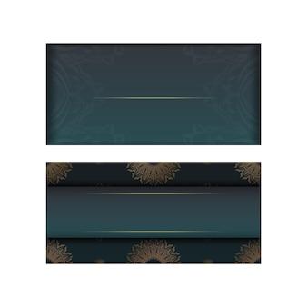 귀하의 브랜드에 대 한 인도 골드 패턴으로 녹색 그라데이션 인사말 카드.