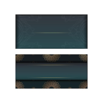 Green gradient greeting card with indian gold pattern for your brand.