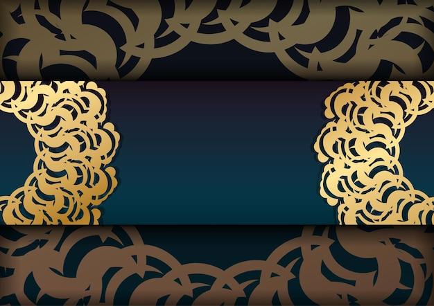 그리스 금 장식 활판 인쇄 준비가 있는 녹색 그라데이션 인사말 전단지.