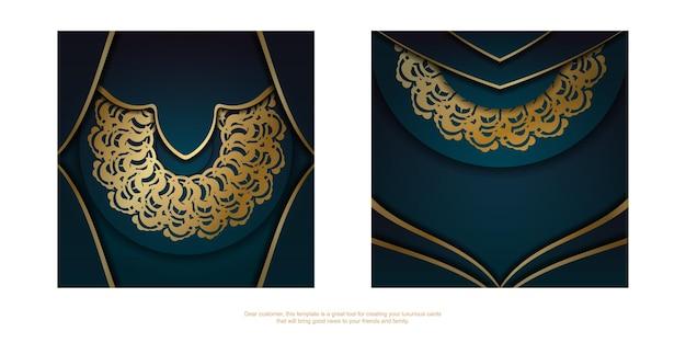 인쇄용으로 준비된 만다라 골드 패턴이 있는 녹색 그라데이션 인사말 전단지.