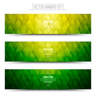 Green graphic web banners set
