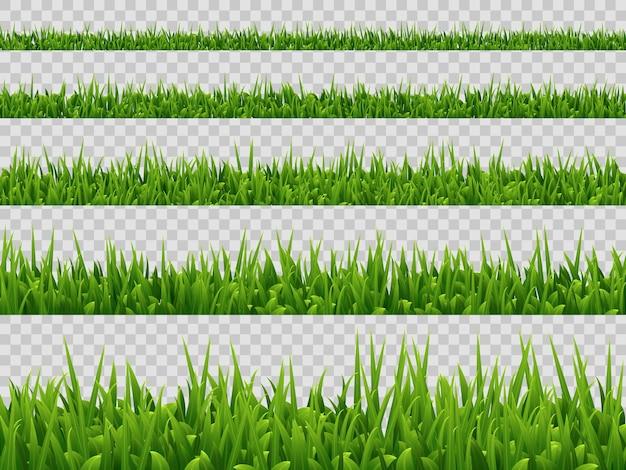 緑の草のボーダーコレクションが分離されました。リアルなスタイル。
