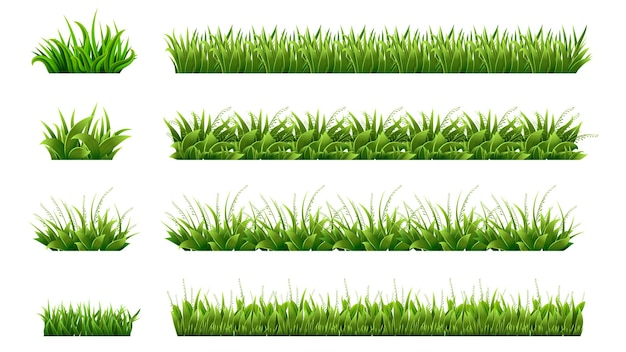 Green grass border. landscaped lawns, meadows clipart. isolated organic lawn shapes, leaves and garden elements. realistic spring summer nature illustration. organic eco foliage, field natural