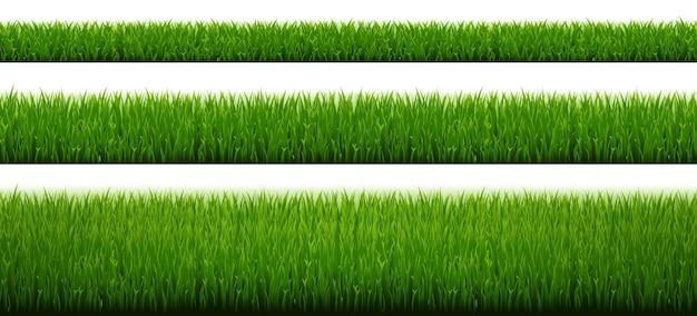 グラデーションメッシュと白い背景と緑の草のボーダーセット