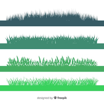 Green grass border silhouettes collection