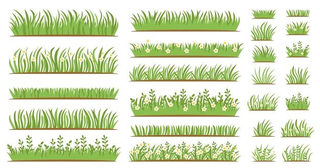 Зеленая трава плоский значок набор, изолированные на белом фоне