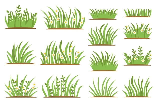 Green grass flat icon set. isolated on white background, leaf borders, flower elements, nature background