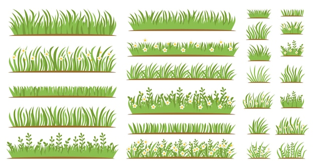 Green grass flat icon set isolated on white background