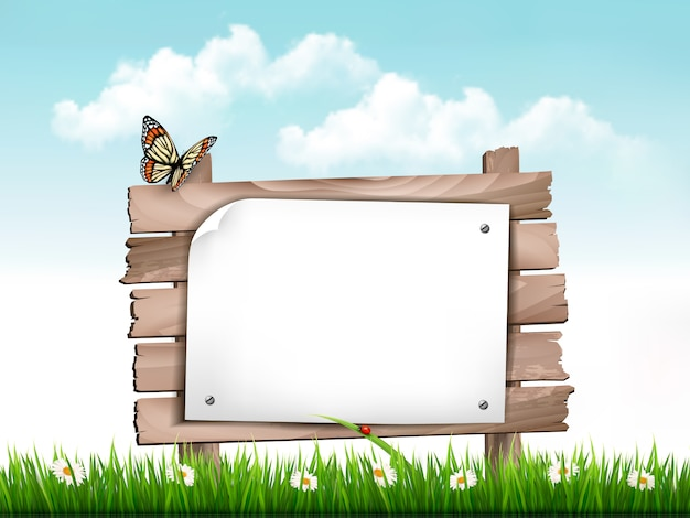 Green grass and flowers and wooden sign vector