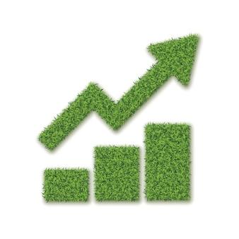 白い背景の上の緑の草の成長チャート。矢印の図と草の3つのバー
