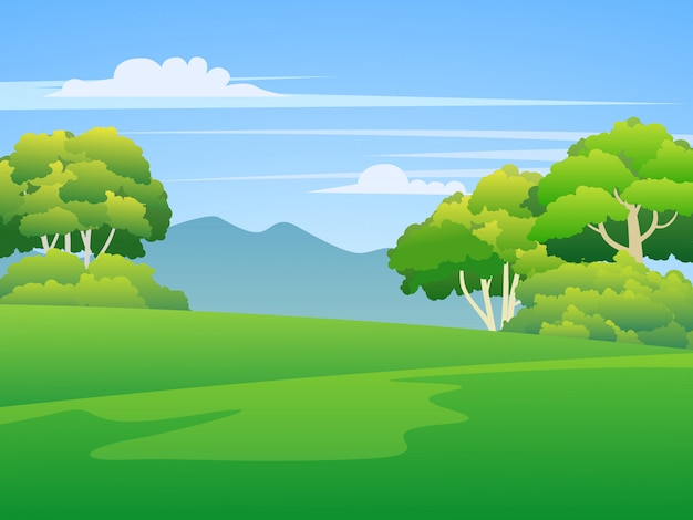Green grass land with trees and mountain