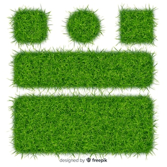 Green grass realistic banner collection