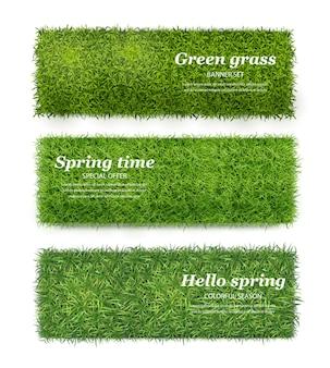 녹색 잔디 현실적인 수평 배너 세트