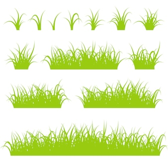 Green grass silhouettes set isolated on white background