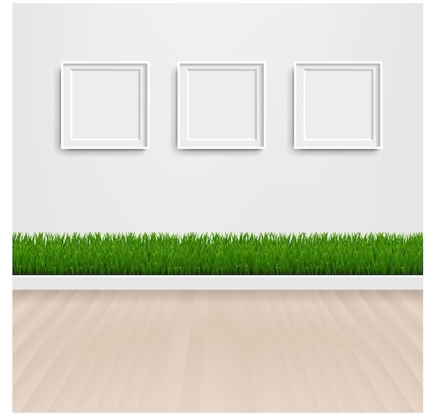Зеленая трава с рамкой и картинкой с градиентной сеткой.