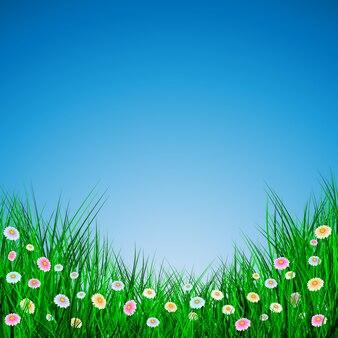 青い背景に花と緑の草、イラスト。
